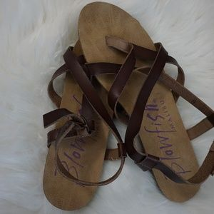 Women's Brown Leather Blowfish Sandals
